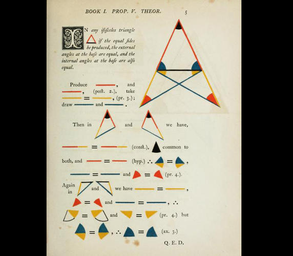 <p>&quot;The books were published in 1847 but the colors and clean lines could be from today. Byrne also simplified Euclid's proofs by using color instead of letters and numbers. It's a more visual and intriguing way to describe the geometry.&quot;</p>