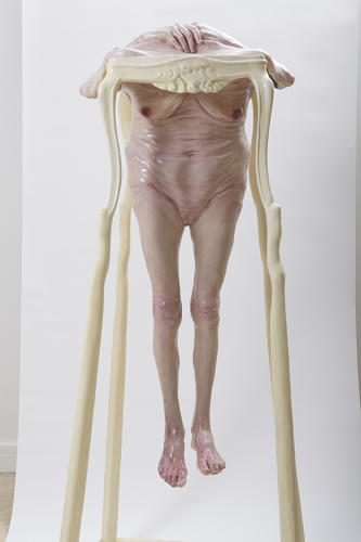 <p>Using stuffed nylons coated in glue and wax, he renders grotesque insecurity.</p>