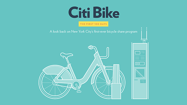 <p>New York's bike share has been around for enough time to start evaluating its success. <a href=&quot;http://www.fastcoexist.com/3020817/visualized/new-yorks-love-affair-with-citi-bike-visualized&quot; target=&quot;_self&quot;>This infographic takes you through the numbers</a> of the first 100 days: People love the blue bikes.</p>