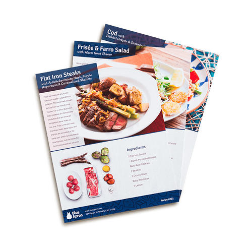 <p>Also inside is a card featuring step-by-step cooking instructions with photographs of how to prepare and cook the meals. Each recipe serves two.</p>