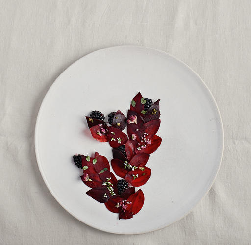 <p>A salad of blackberries and beetroot.</p>