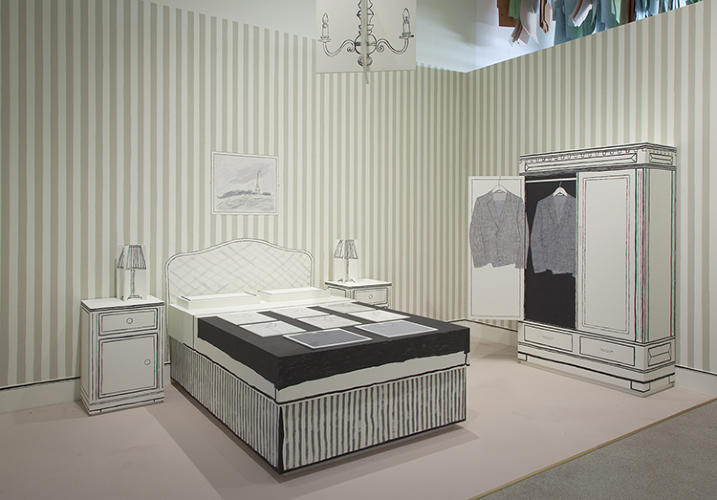 <p>A hand-painted recreation of the Paris hotel room in which Smith showed his first collection.</p>