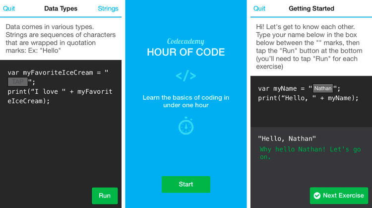 <p>Look, learning to code isn't that scary. But you've got to start somewhere. Codeacademy's new app introduces you to the basic concepts of coding, so you can get started at a slow pace without feeling overwhelmed. (<a href=&quot;https://itunes.apple.com/us/app/codecademy-hour-of-code/id762950096&quot; target=&quot;_blank&quot;>iOS</a>)</p>