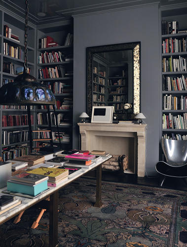 <p>The library in Reed Krakoff's Manhattan townhouse.</p>