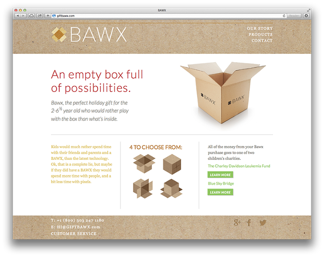 <p>This is real: The Bawx, a 2x2 foot recycled cardboard box, is now on sale for the holidays.</p>