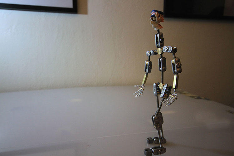 <p>Each puppet in <em>Operator</em> has a metal skeleton inside so it can keep its shape.</p>