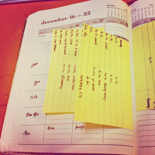 <p>Cassie Ladd is busy: her to-do lists is actually a host of lists, one for each hour. &quot;This is the week before Christmas with three social engagements, 5 business meetings, several writing assignments due, gym times, vet visits and about 20 holiday related tasks.&quot;</p>