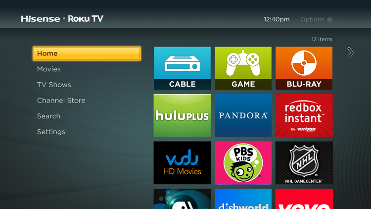 <p>Home screen on the Hisense Roku TV set.</p>