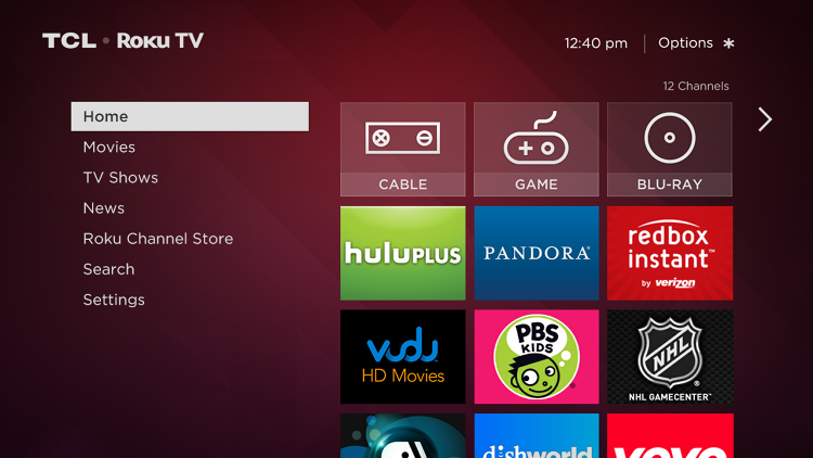 <p>The home screen for the TCL TV set powered by Roku.</p>