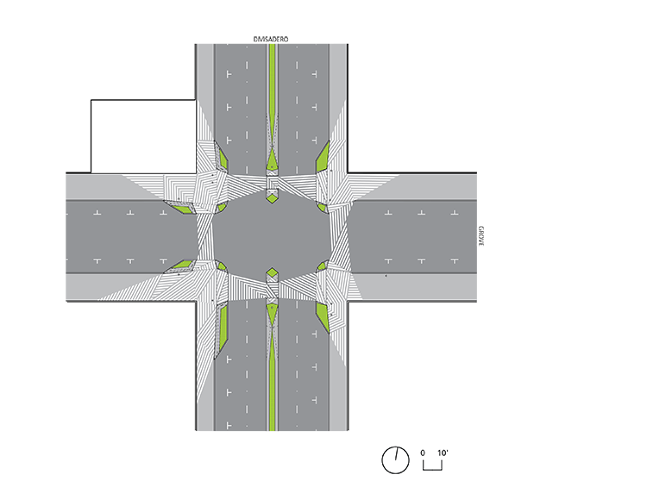 <p>A graphic black and white hatch pattern extends into both the street and sidewalk to make it clear that it's a hybrid zone not strictly for cars or pedestrians alone.</p>