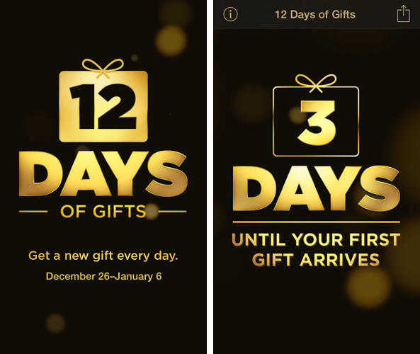 <p>This isn't really an app, but more a bundle of free stuff. From December 26 to January 6 Apple will give you a &quot;gift&quot;--be it an app, song, or video--free for the holidays. There are only a few days left, so get them while they last! (<a href=&quot;https://itunes.apple.com/us/app/id777716569?mt=8&quot; target=&quot;_blank&quot;>iOS</a>)</p>