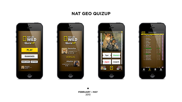 <p>Davidsson also experimented with branded designs such as the Nat Geo QuizUp app about animals.</p>
