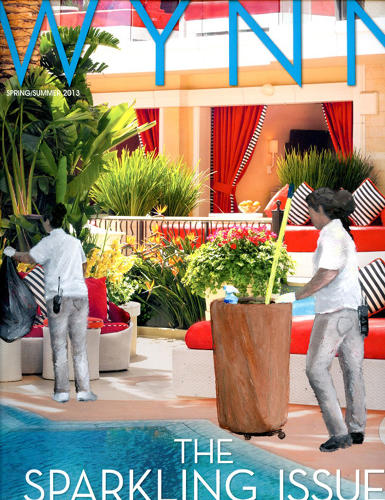 <p>Take a magazine spread for a modernist, beachfront home. Here's the picture with the workers who keep that home's pool clean.</p>