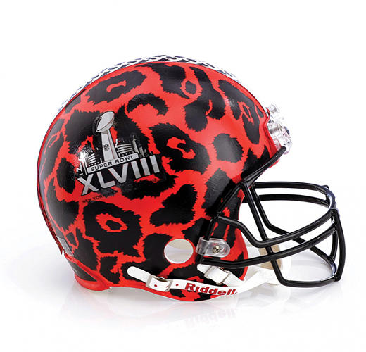 <p>Diane Von Furstenburg channels the animalistic nature of the sport with red leopard print. The helmets will also grace Bloomingdale's famously glitzy 59th Street window display.</p>