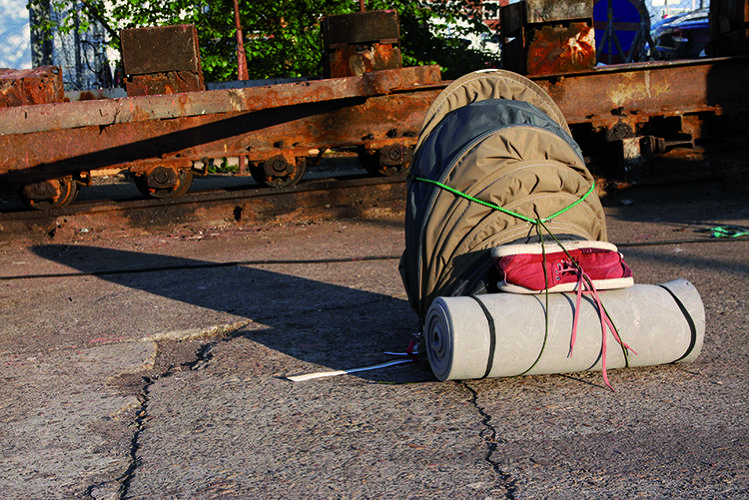 "<p>The ""urban rough sleeper"" is a rugged tent that can be carried around during the day.</p>"