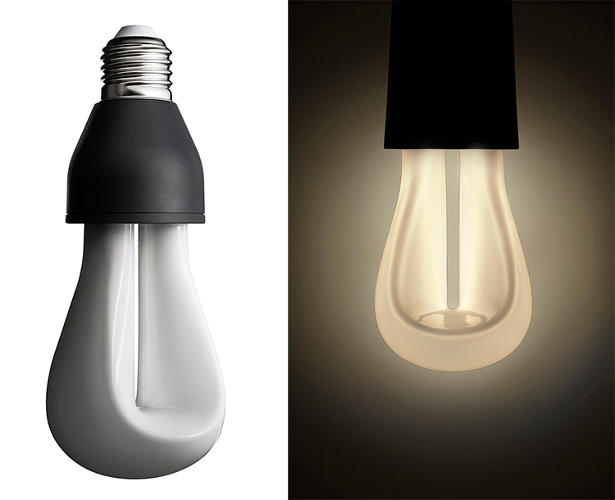 <p>The shape also allowed Hubert Design to create a dimmer light: That gap in the center of the bulb creates a U-shape surface that can guide the placement of the CFLs. The bulb glows strongest at the center, and then that light is diffused as it moves toward the outside of the bulb</p>