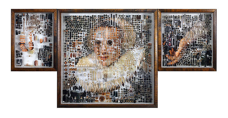 <p>Instead of paint, Mapes uses tiny physical objects like glass vials, insect pins, gelatin capsules, printed photographs, and even human hair to assemble insanely detailed recreations of famous works by the likes of Rembrandt and Nicolaes Eliasz Pickenoy.</p>