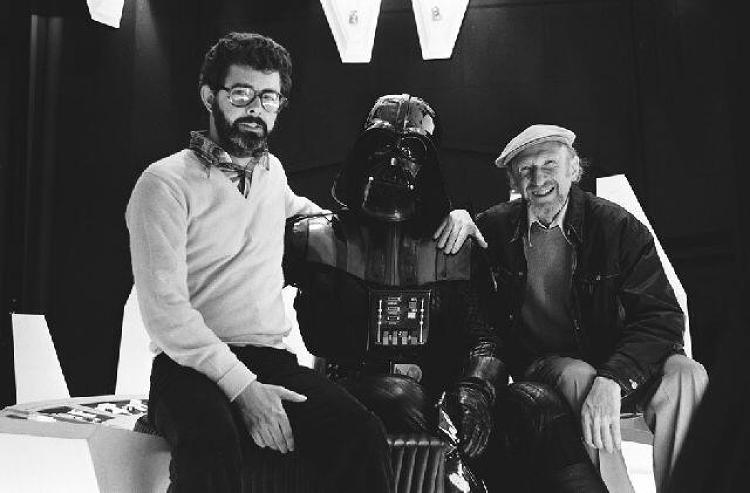 <p>George Lucas, Darth Vader, and Irvin Kershner.</p>