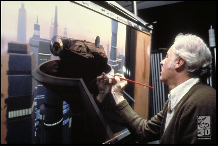 <p>Ralph McQuarrie paints a scene from Bespin.</p>