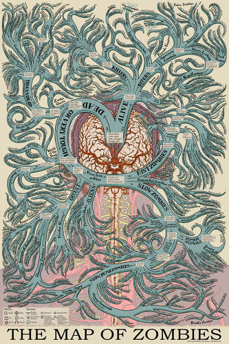 <p>Designed like an antique medical chart, Jason Thompson's Map of Zombies belongs on any zombie lover's wall.</p>