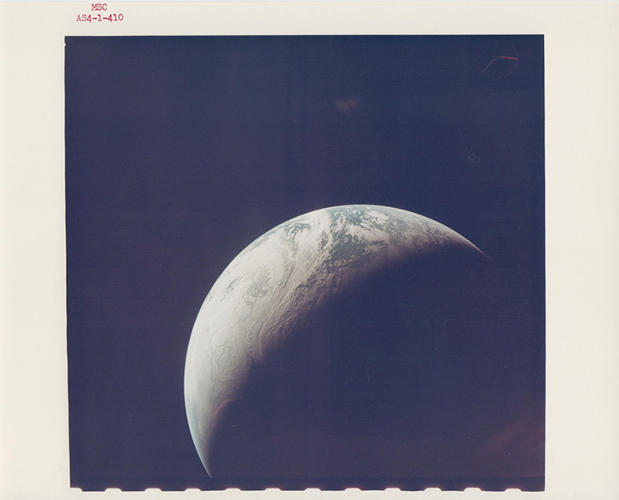 <p>Crescent Earth from 10,000 miles, Apollo 4, November 1967</p>