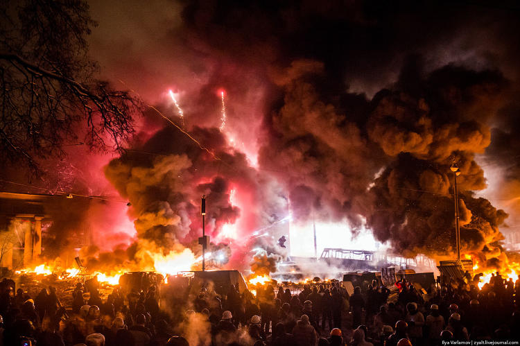 <p>&quot;Protestors periodically shoot fireworks at Berkut. The entire square lights up and people cheer.&quot;</p>
