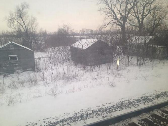 <p>&quot;Idled outside Sandusky, OH. 13 hours behind schedule. Nice view of some tumbled down cottages on Lake Erie. &quot;</p>