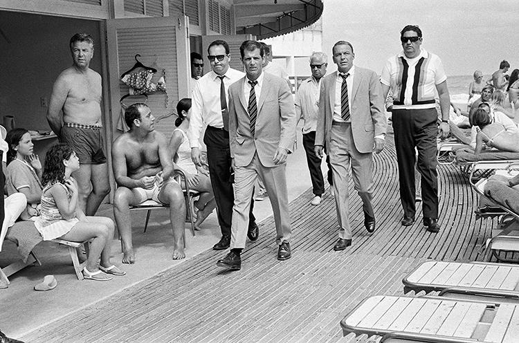 <p>Frank Sinatra, 1968. &quot;This was the moment I first met him. He hadn't seen me yet, and he came around the corner striding across the boardwalk with all his bodyguards and his body double. It was really intimidating,&quot; O'Neill tells the <a href=&quot;http://www.telegraph.co.uk/culture/photography/10558367/Interview-Terry-ONeill.html&quot; target=&quot;_blank&quot;>Telegraph. </a></p>
