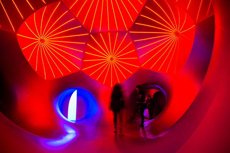 <p>Visitors inside the Miracoco luminarium erected by Architects of Air.</p>