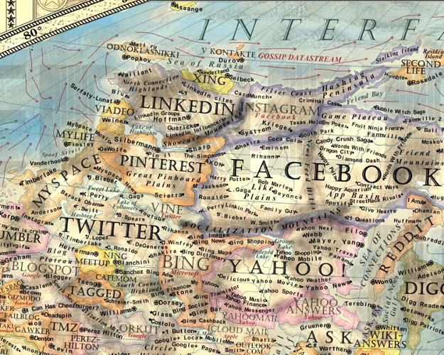 <p>His cartographic experiment treats mega-companies such as Google, Microsoft, HP, and Apple like empires. Here, the large land of Facebook, in the social territory.</p>