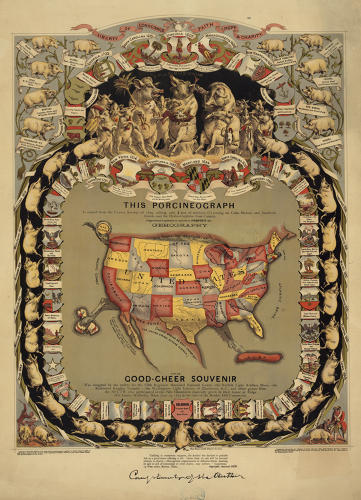 <p>Bacon lovers, behold: The Porcineograph of 1875, designed by the Forbes Lithographic Manufacturing Company of Boston for a grand pork-themed rager commemorating the Battle of Bunker Hill.</p>