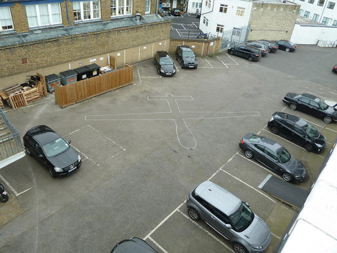 <p>With his project, called Drone Shadows, British artist James Bridle has been chalking outlines on city streets.</p>