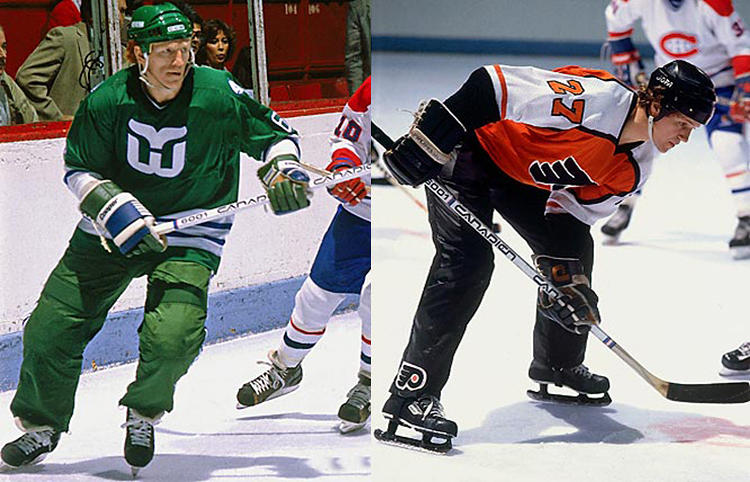 <p>In 1981 and 1982, the Flyers and the Whalers tried out these hockey pants, called Cooperalls, to disastrous results: Players found them too slick, and every time they fell, <a href=&quot;http://www.nhldigest.com/cooperalls/&quot; target=&quot;_blank&quot;>they'd keep sliding</a>. Many players got injured by sliding into endboards. The NHL <a href=&quot;http://thegoodpoint.com/the-death-of-the-cooperall/&quot; target=&quot;_blank&quot;>banned Cooperalls</a> in the 1982-3 season. Back to shorts and hose.</p>