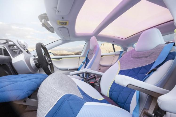 <p>In the Xchange, the traditional steering wheel slides out of the way, allowing passengers to pull out a desk for their laptops, swivel their seats to face one another for a 65 mile-per-hour meeting, or even recline and snag some Zs.</p>