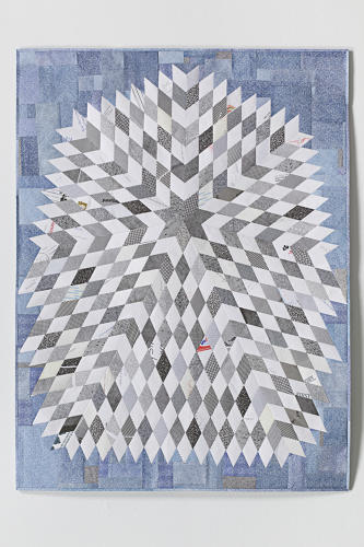<p>He fell in love with the museum's Blazing Star Crib Quilt, a zig-zagging starburst of a design. After several botched attempts at replicating the mathematical arrangement of this seven-pointed star, Sollins managed to re-create the quilt in paper, seen here.</p>