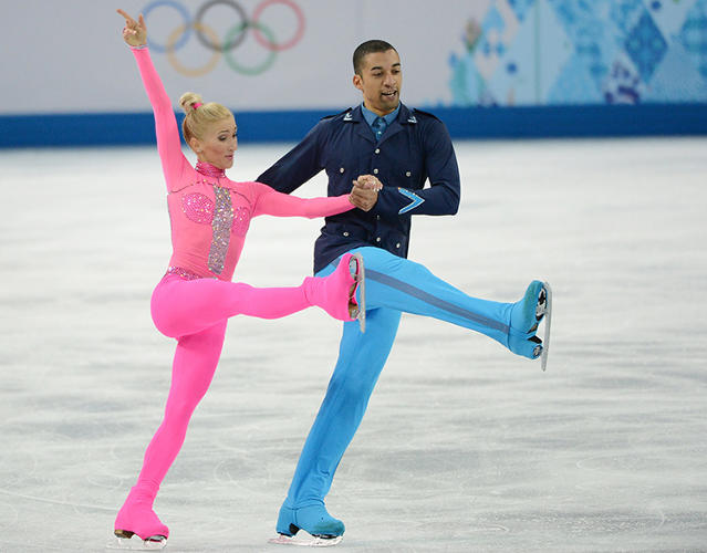 <p>Germany's Robin Szolkowy and Aliona Savchenko dancing to the Pink Panther. &quot;This is not one of my favorites,&quot; Ann Yee says. &quot;I would definitely eliminate the strip down the center and the diamond/triangular shape, which looks like a giant arrow pointing to the skater's crotch.&quot;</p>