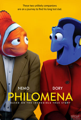 <p>Los Angeles-based writer and illustrator <a href=&quot;https://twitter.com/Todd_Spence&quot; target=&quot;_blank&quot;>Todd Spence</a> has given this year's Academy Award-nominated films a dose of some lighthearted Pixar charm. Here, Nemo and Dory stand in as the leads of the British <em>Philomena</em>.</p>