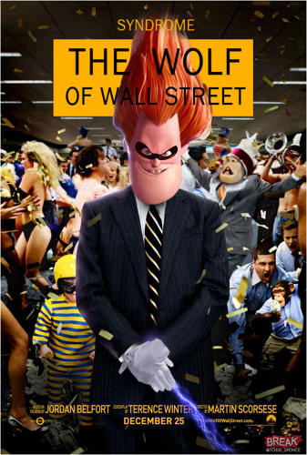 <p>Syndrome (née Buddy Pine) from <em>The Incredibles</em> posing as Leo DiCaprio's Jordan Belfort in <em>The Wolf of Wall Street</em>.</p>