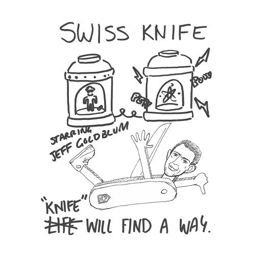 <p>This is a Swiss Army knife with Jeff Goldblum as one of the tools. We're stumped.</p>