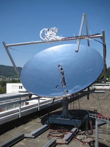 <p>The system uses a dish covered in mirrors to aim sunlight in a small area; as the sun moves throughout the day, the dish follows it to catch the most light.</p>
