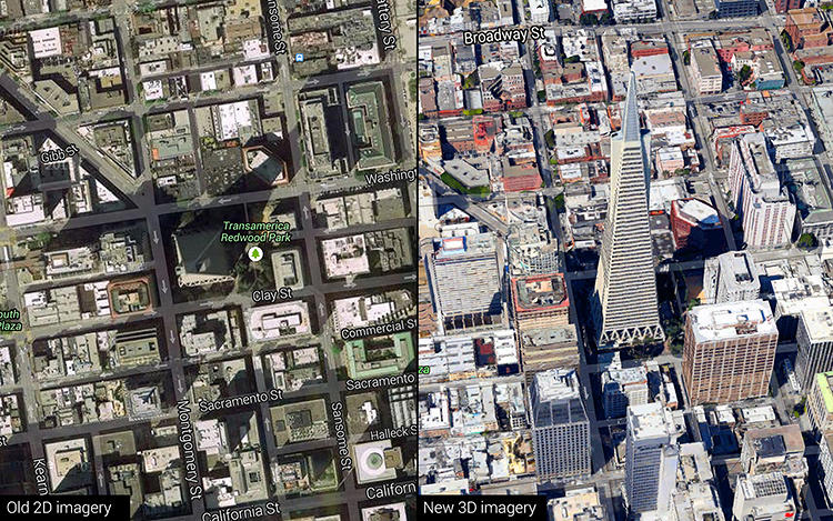 <p>The new Google Maps is based off a true 3-D engine, instead of trying to fake it, as before.</p>