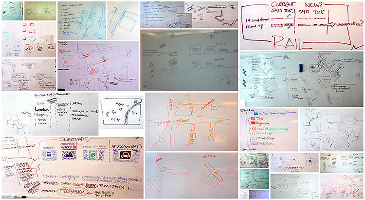 <p>A collection of whiteboard sketches from early meetings.</p>