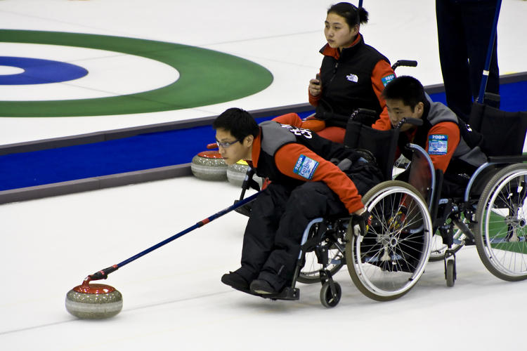 <p>Wheelchair curling relies on an ultra-precise flick of the wrist rather than a full-body slide.</p>