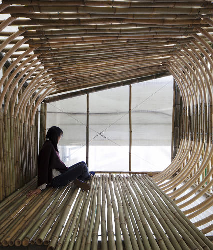 <p>Bamboo walls could separate residents from their neighbors, all on the same factory floor.</p>