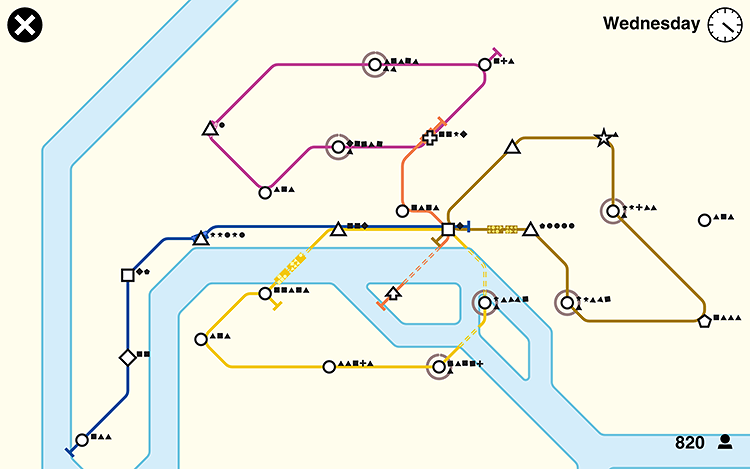 <p>Stations represented by different shapes slowly pop up on your screen. You must connect them with colored subway lines. Passengers indicate which shape they want to travel to, and your trains take them there.</p>