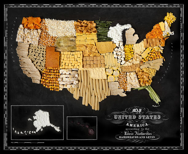 <p>Photographer (and former male model) Henry Hargreaves has created this cartographic series with food stylist Caitlin Levin. Each map is divided by political boundaries and shows in 3-D what kinds foods you might there. Behold, the corns and grains of the United States.</p>