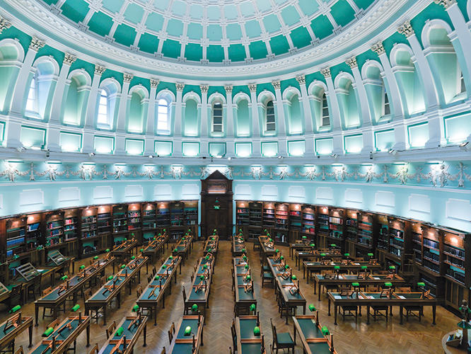 <p>The National Library of Ireland was established in 1877, and the present building was opened in 1890. Today, it's a reference library with upwards of 8 million items.</p>