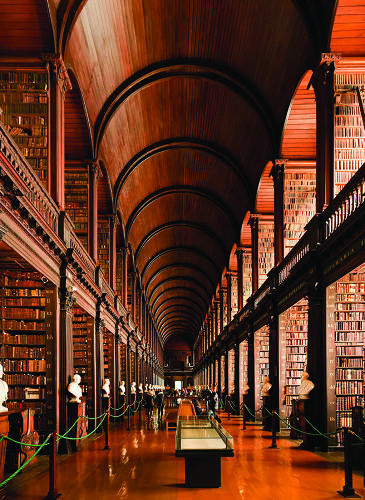 <p>Trinity College Dublin's library was built in 1592, and houses the 1,000-year-old Book of Kells. Controversy was sparked when librarians realized the long room, pictured here, bears striking resemblance to the Jedi Archives in the Jedi Temple in <em><a href=&quot;http://en.wikipedia.org/wiki/Trinity_College_Library#In_popular_culture&quot; target=&quot;_blank&quot;>Star Wars</a></em>--but director George Lucas called it a coincidence.</p>