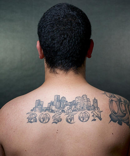 <p>Patrick Neil's tattoo depicts the view of Boston he remembers from childhood.</p>