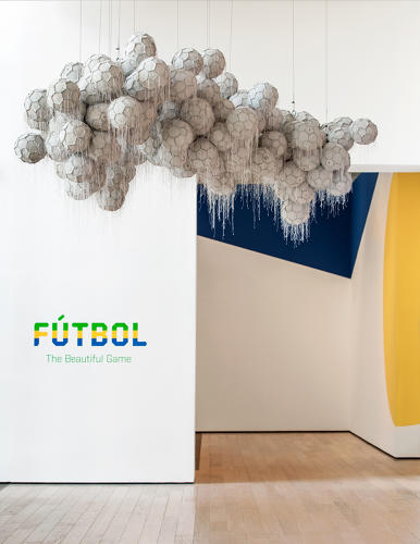 <p>Latex, leather, string and steel<br /> Suspended from the ceiling, this sculpture is part of Los Angeles exhibition Fútbol: The Beautiful Game.<br /> Dario Escobar</p>